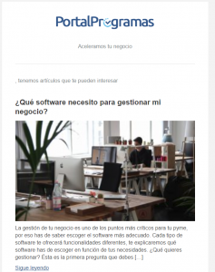 Campaña de email marketing a más de 5.000 compradores de software